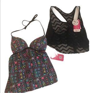 Hula Honey Swimwear Tankini Top w/Cover XS